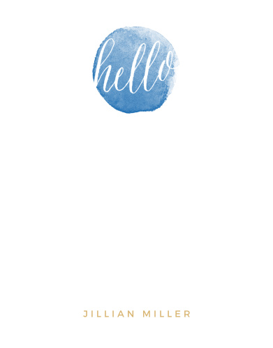 """The word """"hello"""" in a watercolor circle gives the Watercolor Hello Foil Business Stationery a fresh, contemporary look."""