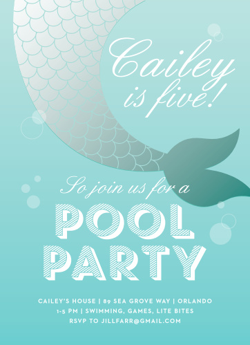 Throw the perfect party for your water-lover with the Magical Mermaid Children's Birthday Party Invitations.