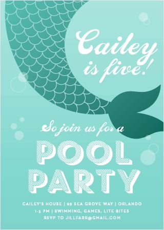 Throw the perfect party for your water-lover with the Magical Mermaid Party Invitations.