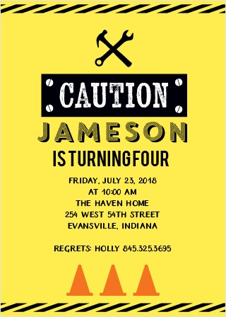 Caution! Fun ahead! Use the Caution Construction Party Invitation to bring some excitement to your construction themed party invitations.