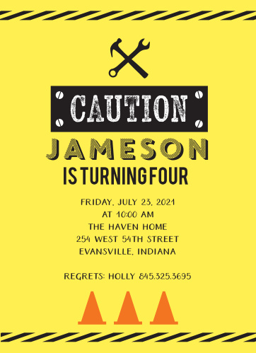Caution! Fun ahead! Use the Caution Construction Children's Birthday Party Invitations to bring some excitement to your construction themed party invitations.