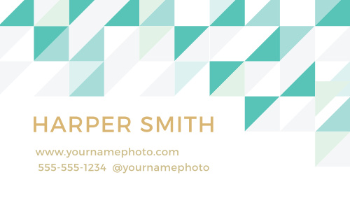 A pattern of triangles and squares on the front makes the Chic Geometric Foil Business Cards a modern and stylish way to advertise your business.
