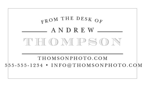 Your name in a vintage typeface creates a strong impression on The Desk Of Foil Business Cards.