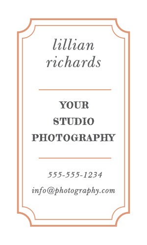 A double-lined scallop frame accentuates your name, business' name and contact info on the front of the Antique Frame Foil Business Cards.