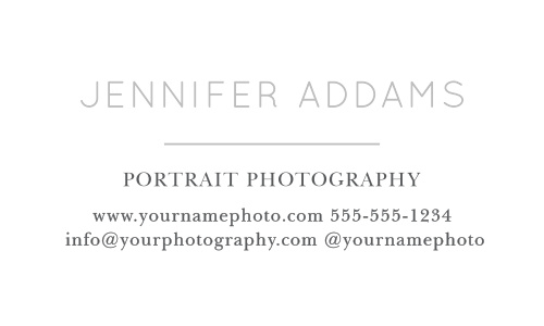 On the front of the Modern Family Foil Business Cards is your name or the name of your business, title and contact information in your choice of over 100 hand-picked fonts.