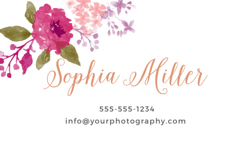 Watercolor florals adorn the top left corner of the Watercolor Wreath Foil Business Cards.