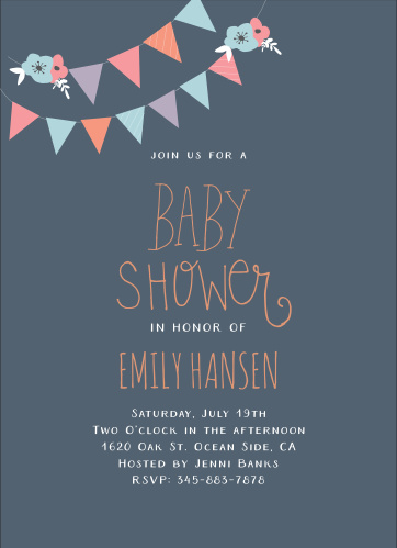 Banners, flowers, and babies! Customize the Banner Party Baby Foil Shower Invite with colors to match your shower theme.