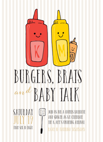 Burgers, Brats and Baby Talk! Boys are allowed for this one! Invite friends and family to a BBQ celebrating your new addition with the Burgers N'Brats Foil Baby Shower Invitations.