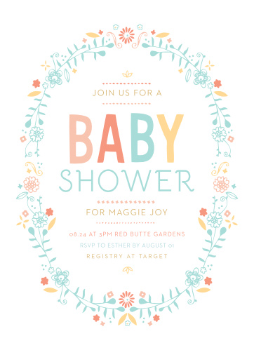 An oval of colorful flowers surround the Baby Wreath Foil Baby Shower Invitations.