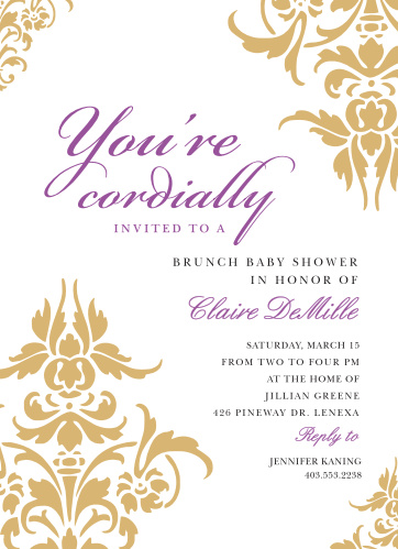 The Decorative Damask Foil Baby Shower Invitations are the perfect mixture of elegance and grace.