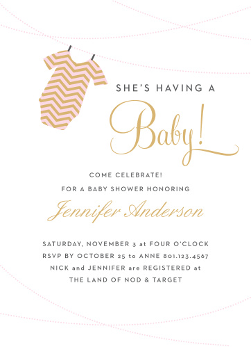 The Onesie Clothesline Girl Foil baby shower invitations are a fun and cute way to show off your new baby girl!