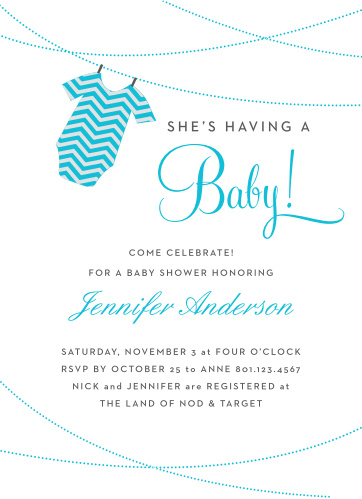 The Onesie Clothesline Boy baby shower invitations are a fun and cute way to show off your new baby boy!
