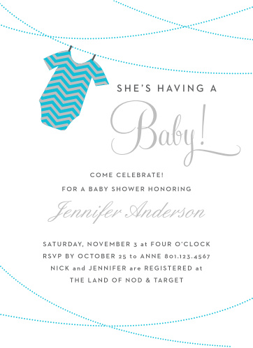 The Onesie Clothesline Foil Boy baby shower invitations are a fun and cute way to show off your new baby boy!