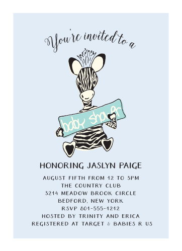 Let the cute little zebra on the Little Zebra Baby Shower Invitations help you invite your friends and family to the greatest baby shower of all time!
