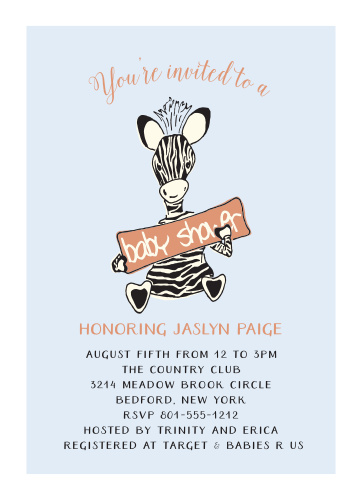 Jungle baby shower invitations match your color style free little zebra foil baby shower invitations filmwisefo
