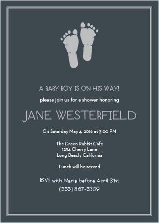 Little Boy Footprints Foil Baby Shower Invitations