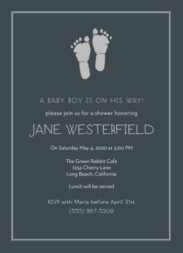 The Little Boy's Footprints Foil Shower Invitation feature cute footprints next to a spot for a cute saying or quote