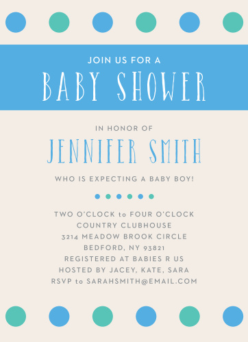 Polka dots are always a classic! With the Polka Dot Boy Baby Shower Invitation, you can customize this invitation to match your baby shower theme.