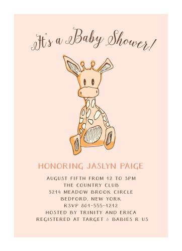 Safari baby shower invitations match your color style free giraffe girl foil baby shower invitations filmwisefo Image collections