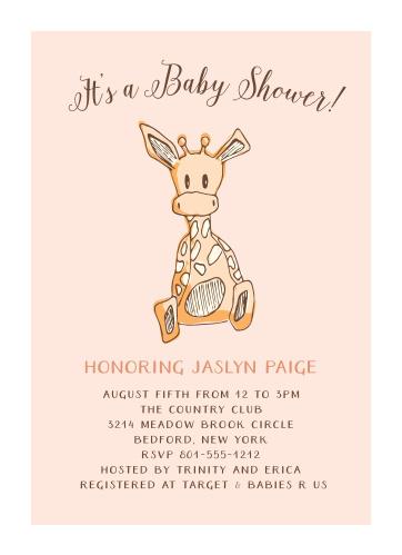 Giraffe Girl Foil Baby Shower Invitations