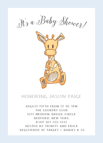 Send out your baby shower invites with the Giraffe Boy Baby Shower Invitations.
