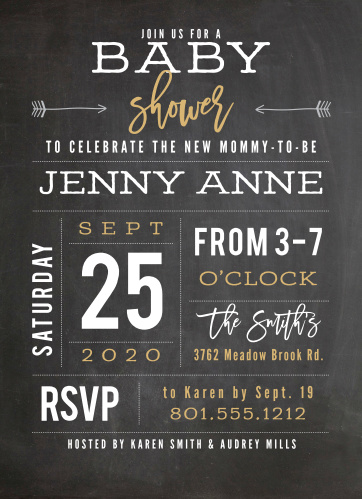 Customize this chalkboard inspired baby shower invitation to match your shower theme.