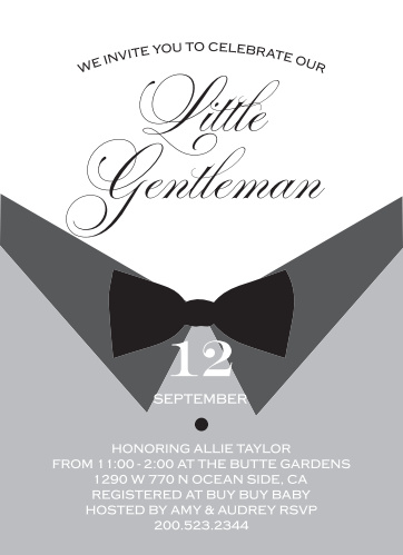 The Little Gentle Baby Shower is features a fun bow-tie and dress shirt theme, perfect for your classy little man and baby shower.