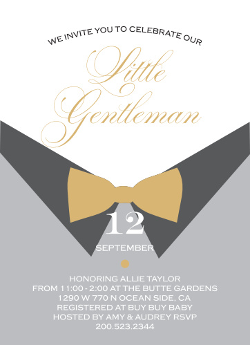 The Little Gentle Foil Baby Shower features with a fun bow-tie and dress shirt theme, perfect for your classy little man and baby shower.