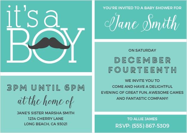 Mustachio Mayhem Baby Shower Invitation