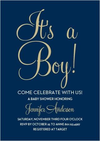 Royal Script Boy Baby Shower Invitations