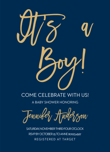 Announce you're having a Boy with the Royal Script Boy Foil Baby Shower Invitations.