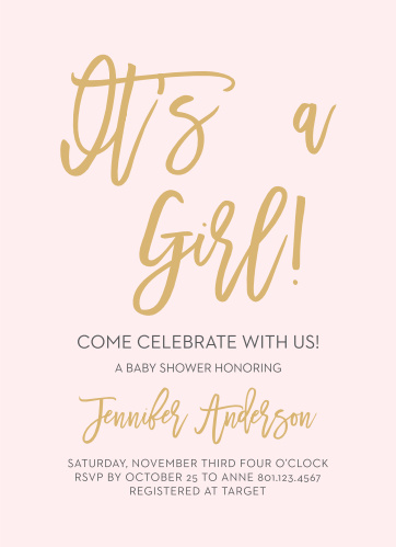 Announce you're having a Girl with the Royal Script Girl Baby Shower Invitations.