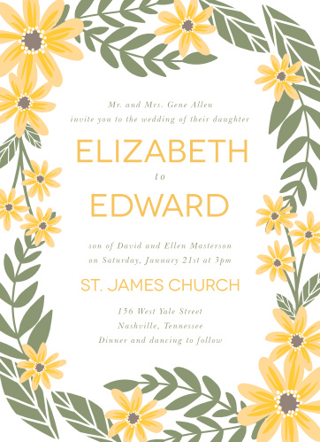 Sunflower wedding invitations match your color style free sunny flowers wedding invitations filmwisefo