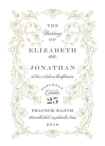 Peacock Flourish Wedding Invitations