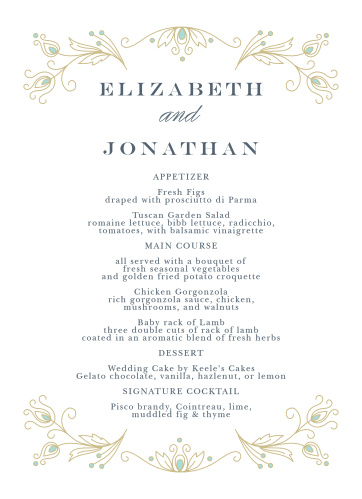 Stylized feathers create an elegant frame on the Peacock Flourish Wedding Menus.