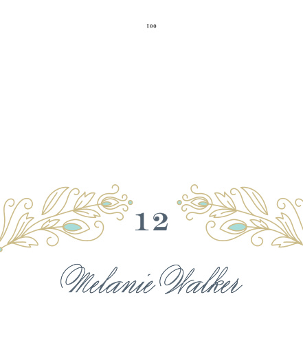 Stylized feathers accent your table number on the Peacock Flourish Place Cards.