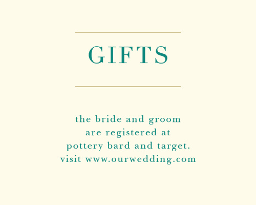 Guide guests to your wedding registries with the Peacock Feather Registry Cards.