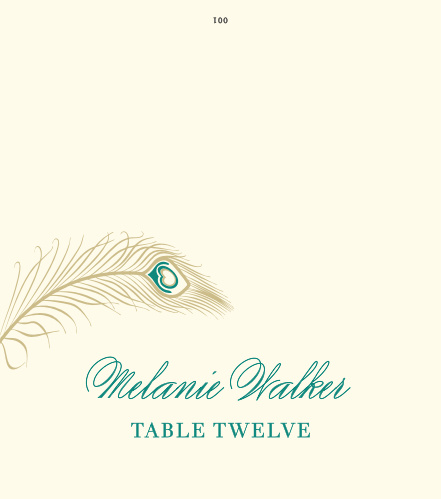 Guide guests to their reception tables with the sumptuous design of the Peacock Feather Place Cards.