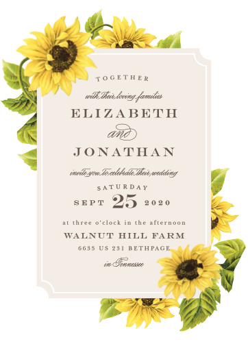 Bright florals creates a cheerful border on the Sunflower Frame Wedding Invitations.