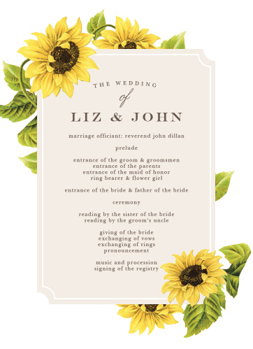 Set the mood for your springtime wedding with the Sunflower Frame Wedding Programs.