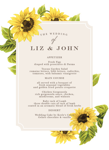 Bright florals frame your food and drink options on the Sunflower Frame Wedding Menus.