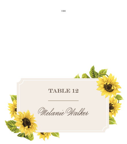 Bright florals accent the corner of the Sunflower Frame Place Cards.