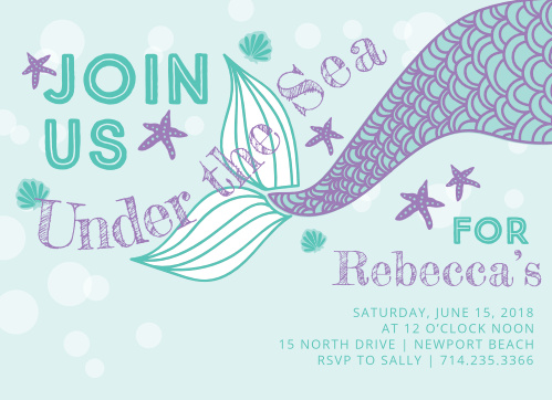 Starfish, sea shells and a mermaid tail make the Under the Sea Children's Birthday Party Invitations perfect for your little water lover.