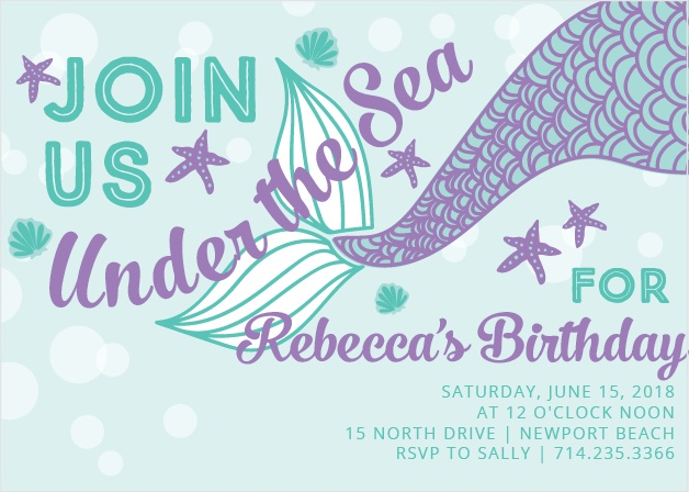 Starfish, sea shells and a mermaid tail make the Under the Sea Party Invitations perfect for your little water lover.