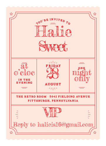 Sweet 16 invitations match your color style free basic invite vip pass sweet sixteen party invitations solutioingenieria Image collections