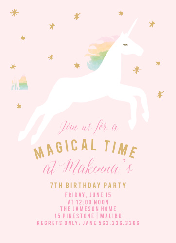 Kids birthday invitations kids birthday party invites basic invite rainbow pony foil childrens birthday party invitations stopboris Choice Image