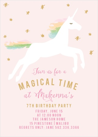 Prepare guest for a magical time with the Rainbow Pony Foil Party Invitations.