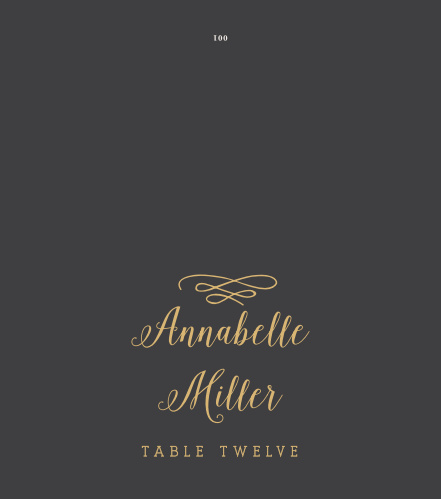The Whimsical Calligraphy Foil Place Cards' simple design is lovely and romantic.