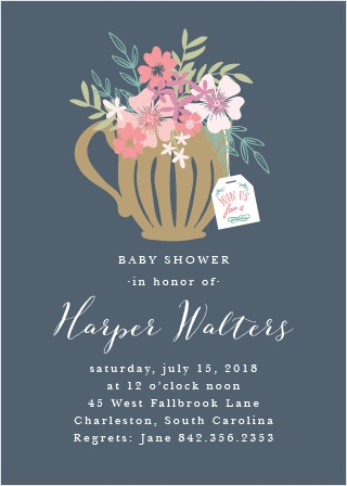 Time for tea! The design of the Tasteful Tea Party Baby Shower Invitation is fresh and elegant, featuring a teacup full of blooming bouquets.