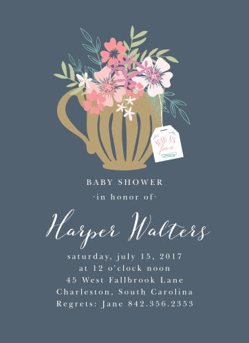 Time for tea! The design of the Tasteful Tea Pot Baby Shower Invitation is fresh and elegant, featuring a teacup full of blooming bouquets.